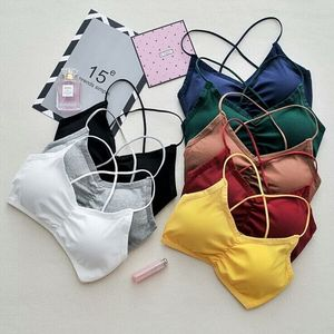 Image 1 - Damskie krótkie bluzki Camisole Camis jednolite kolory Bralette bielizna biustonosz typu strappy topy bawełniana kamizelka bez rękawów
