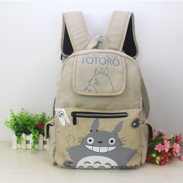 Brand new backpack Tonari no totoro/My neighbor totoro cute lovely girl's backpack canvas material back high quality AB191 my neighbor totoro pu purse tonari no totoro penny wallet with button type a