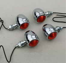 Free Shipping 4x sivler/black Motorcycle Turn Signal Light For Chopper Bobber Cafe racer