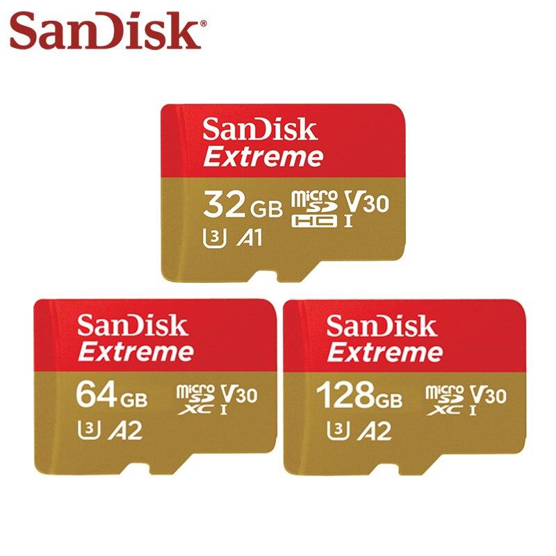 SanDisk Extreme Micro Cartão SD de 128 GB Cartão de Memória SDHC SDXC UHS-I U3 V30 32 GB 64 GB Cartão TF para a Câmera do Smartphone Frete Grátis