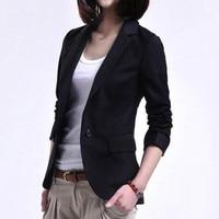 2018 Women Single Button Blazer Cotton Long sleeve Slim Blazer Black 4XL Women Small Suit