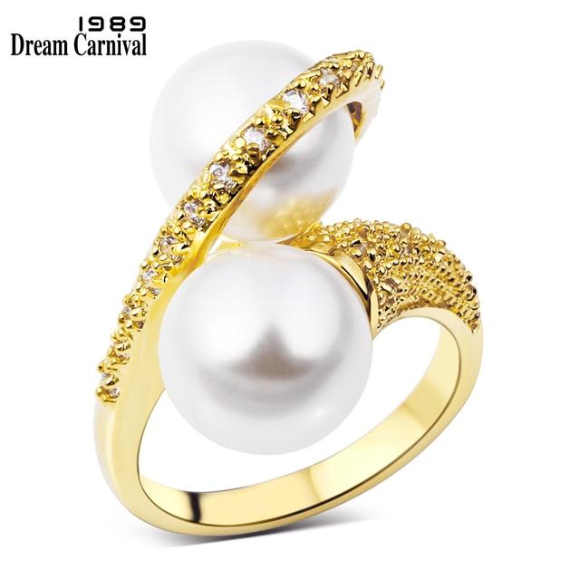 DreamCarnival 1989 Infinity Finger Ring for Women Wedding Anniversary Gift Gold-
