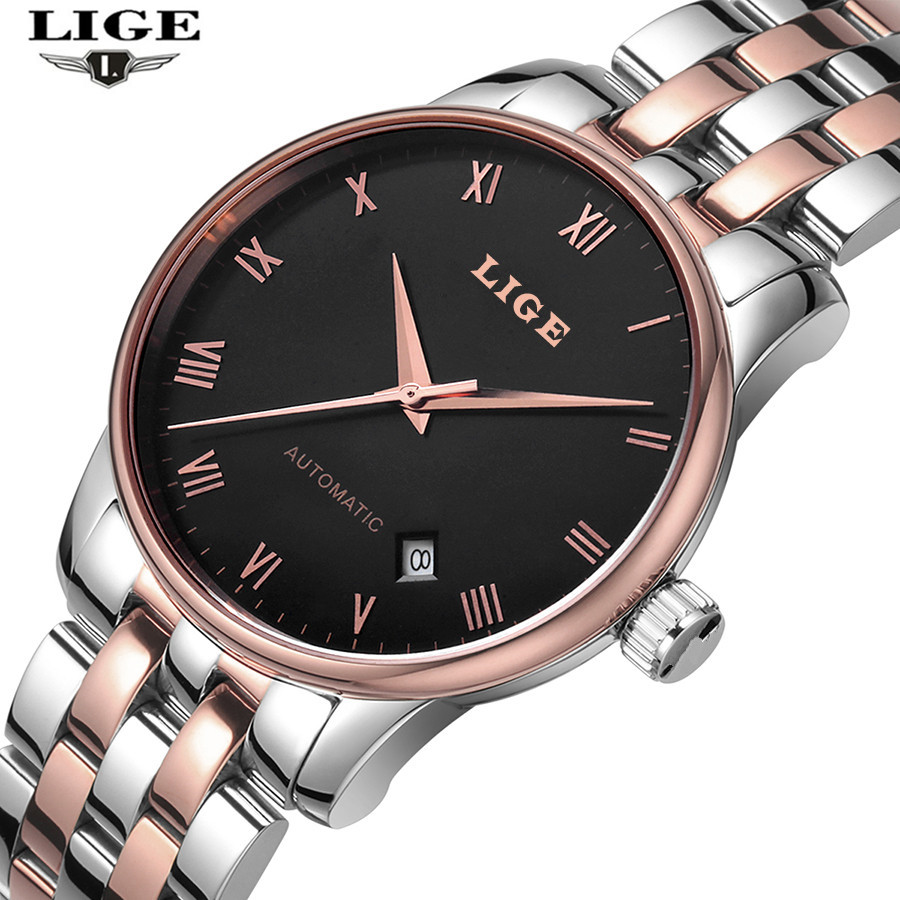 Mens automatic mechanical comes with a calendar watches complete stainless steel fashion...
