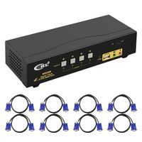 VGA KVM Switch 4 Port Dual Monitor Extended Display, CKL USB KVM Switch VGA with Audio + 2 VGA Output 20481536@450Hz, PC Monitor