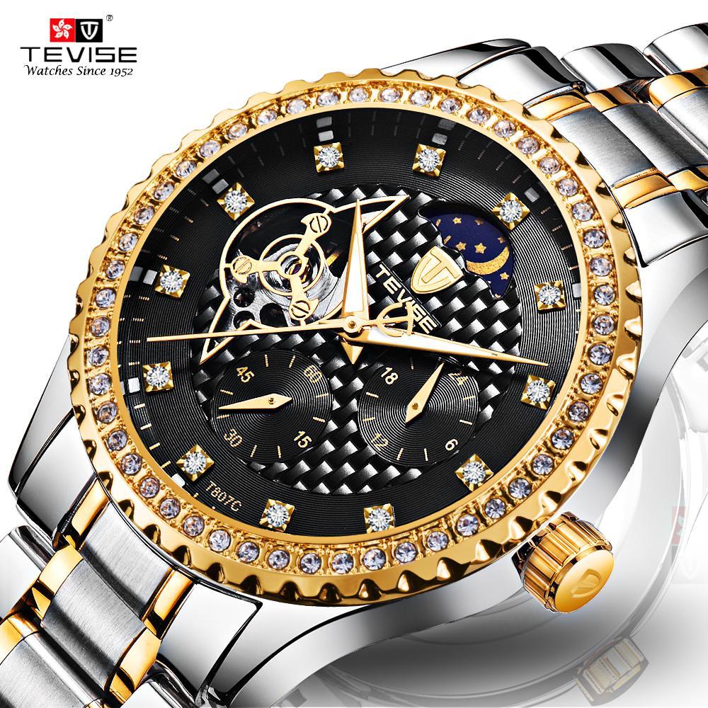 TEVISE Mechanical Watch Men Tourbillon Automatic Watches Moon Phase Luminous Diamond Wrist Watch Mechanism Luxury Clock Male