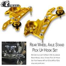 waase motorcycle cnc aluminum left Motorcycle Parts Left &Right CNC Aluminum Rear Wheel Axle Stand Pick Up Hook Set For 2014 2015 2016 Yamaha MT07 FZ07 MT-07 FZ-07