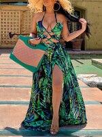 2019 летние женские элегантные праздничные платья для пляжного отдыха женские спагетти ремень v-образным вырезом Холтер Кружева-вверх лист п...