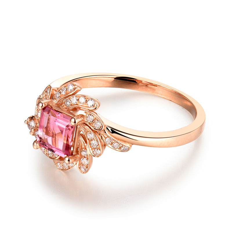 Trendy Princess Cut 5x5mm Pink Tourmaline Gemstone Ring Diamond In 18K Rose Gold For Party Fine Jewelry