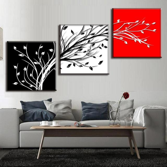 Framed painting 3 pcs set abstract black white red 3 color tree branch canvas painting