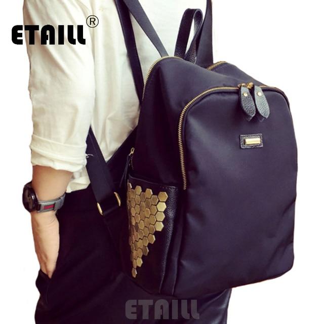 eacd7500948 2016 Casual Rivets Backpack Women s Rucksack Waterproof Nylon Ladies Travel  Backpack Girl School Bag Sac a Dos Femme De Marque