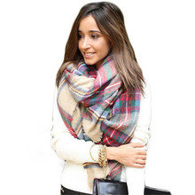 Brand new Wool Blend Blanket Oversized Tartan Scarf Wrap Shawl Plaid Checked Pashmina for women 140cm*140cm #20 Gift 1PC