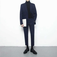 Fashion double breasted men's England Slim casual professional men's two suits