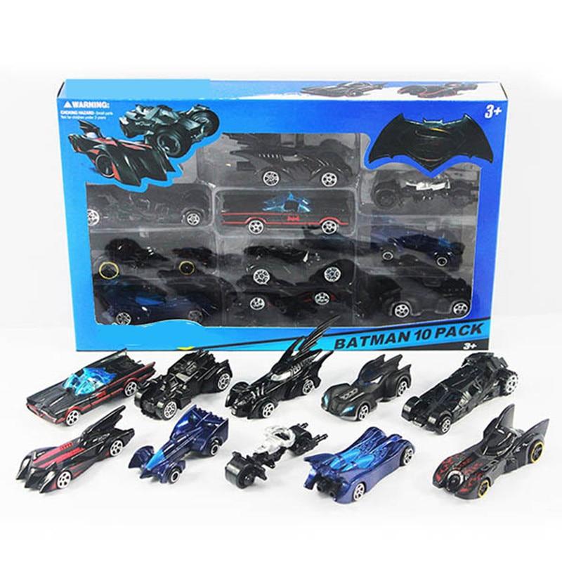 10pcs/box hotwheels mini scale slide model cars classic toy Batman motocicleta car metal hot track kids toys Collection gift
