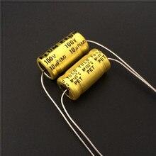 10 قطعة 10 فائق التوهج 100V ELUM NP 10x20 مللي متر 100V10uF القطبين محوري الألومنيوم مُكثَّف كهربائيًا