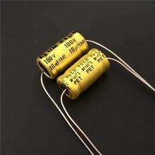 10pcs 10uF 100V ELUM NP 10x20mm 100V10uF Bipolar Axial Aluminum Electrolytic Capacitor
