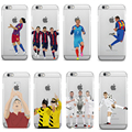 Ultra Thin Football Clear Phone Cases Coque for iPhone4 4S 5 5S SE 6 6S 7 7 PLUS Football Superstar Winner Messi Ronaldo Rooney