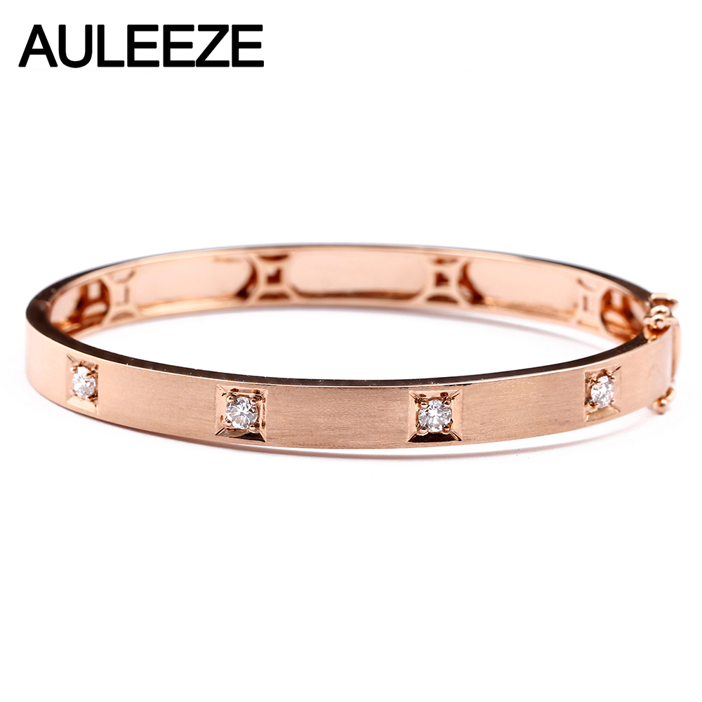 AULEEZE Classic 0 40CTTW Natural Diamond Bracelet Real 18k Rose Gold Bangles For Women Wedding Jewelry
