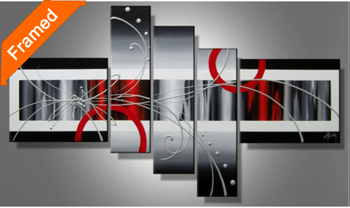 framed canvas painting modern multi panels canvas wall art for living room decoration oil painting for