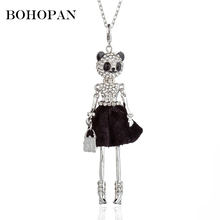 Animal Figure Doll Necklace Women Shiny Crystal Black Skirt Silver Color Statement Necklace Girl Fashion Jewelry Party Bijoux цена