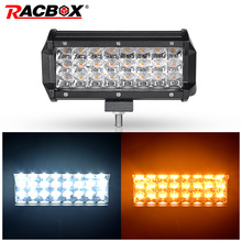 2 Pcs 72W 7inch Triple Row LED Light Bar Dual Color 12V 24V LED Spot Beam Lamp for Off Road 4WD ATV UTV UAZ MPV Motorbike Boat
