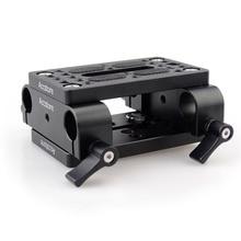 MAGICRIG caméra plaque de montage trépied monopode plaque de montage avec 15mm tige pinces Railblock pour tige Support Rail DSLR appareil photo