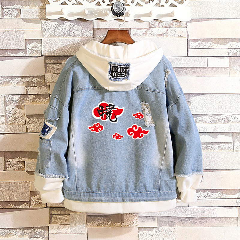 Fashion Anime Hokage Akatsuki Red Clouds Denim Jackets Frayed Casual Hooded Jean Jacket Layered Loose Patchwork Cowboy Tops Coat