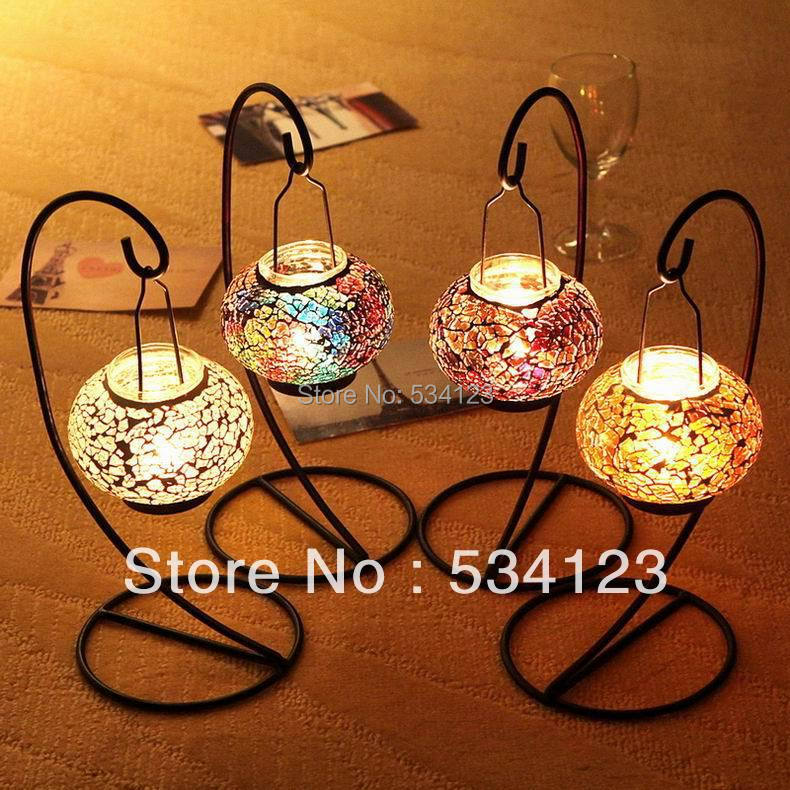 popular mosaic hanging lantern tealight candle holders candle lantern for wedding party decor - Tea Light Candle Holders