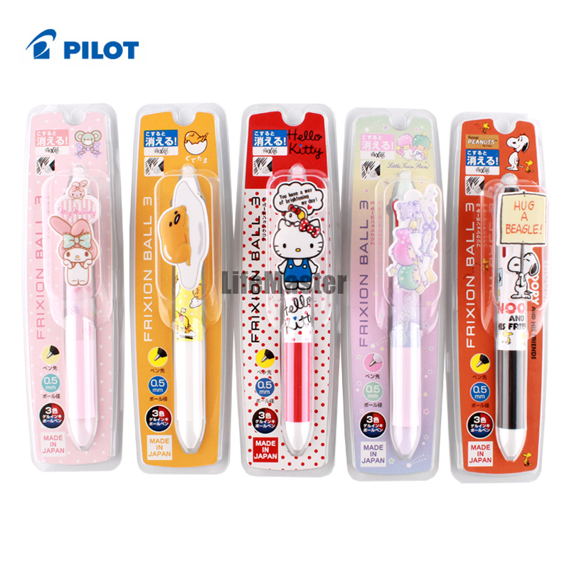 LifeMaster Limited Sanrio Frixion Point 3 in 1 Gel Pen Cooperated with Pilot 0.5 mm (Black+Blue+Red) Hello Kitty/ Melody pilot dr grip pure white retractable ball point pen