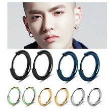 1Pair Men's Women's Stainless Steel Tube Ear Studs Hoop Huggie Punk Earrings Jewelry(China)