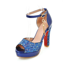 46c57c494 Ymechic senhoras peep toe ankle strap glitter festa de casamento sapatos de noiva  mulher branco azul rosa plataforma mary jane b.