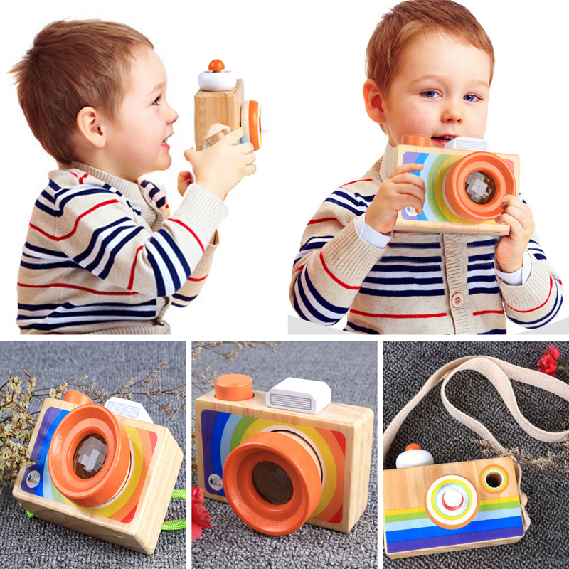 Mini Cute Wood Camera Toys Safe Natural Toy For Baby