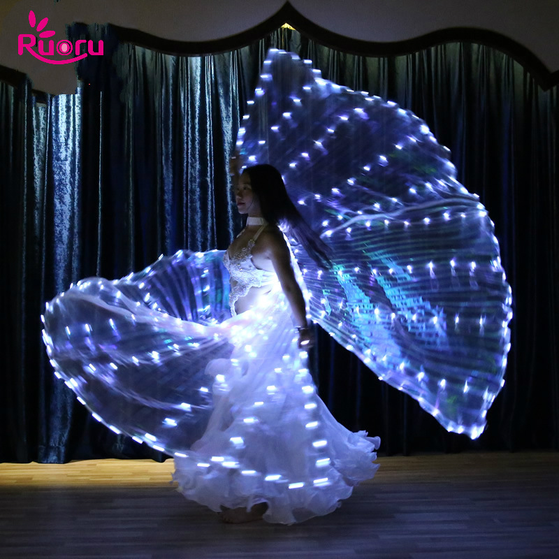 Ruoru Belly-Dance-Props Sticks Wings Split Led Women with 360-Degrees Isis 382pieces