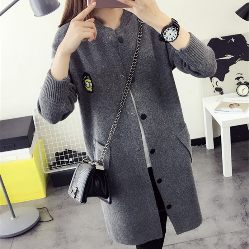 2016 high quality fall and winter Female cardigan sweater Knitted Cotton O Neck font b fashion