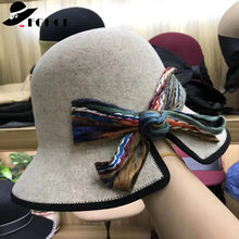 ea838615ce48f FGHGF 2018 Elegant Wool Felt Bowler Hat Black Brim Bow Knot Cloche Women Hat  Winter Fedoras