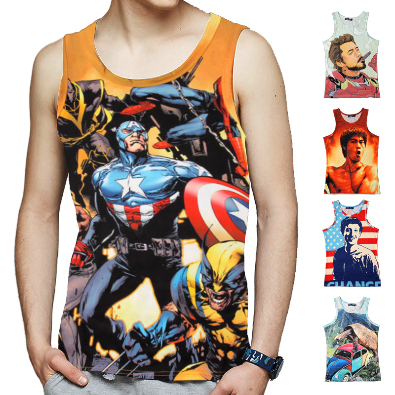 2017 2017 Marvel New Summer Loose Breathable iron Man/Bruce Lee/The Avengers/Zuckerberg 3D Print Man Tank Tops Vest Singlet BT1