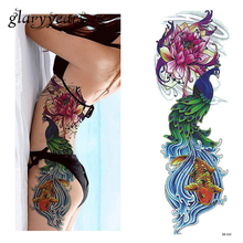 1 stuk tattoo sticker volledige bloem arm vis pauw lotus patroon tijdelijke make-up body art water overdracht tattoo sticker dz-112
