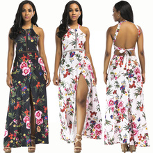 Summer new hot fashion sling female dress personality casual hollow backless sexy print loose wide leg