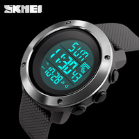 Fashion Stainless Steel Case Dual Time Digital Watch Waterproof Outdoor Casual Sports Watches For Men Women