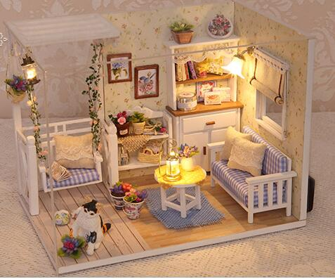 Doll House Furniture Diy Miniature Dust Cover 3D Wooden Miniaturas Dollhouse Toys for Children Birthday Gifts Kitten Diary ipl lamp 7 60 120mm best quality ncrieo ipl xenon lamp e light xenon bulb with wire