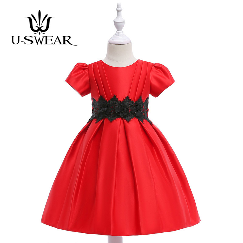 U-SWEAR 2019 New Arrival Kid   Flower     Girl     Dresses   O-Neck Short Sleeve Lace Pearl Beaded Pleat Ball Gown Pageant   Dresses   Vestidos