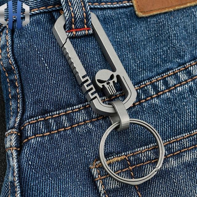 Titanium Skull Carabiner Keychain