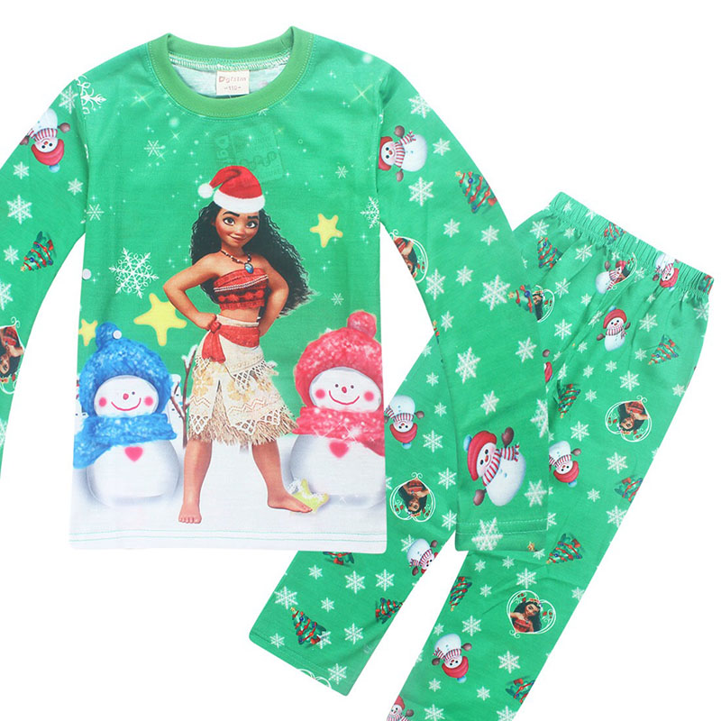 Kid Girls Christmas Gift Pajamas Children Winter Green Pink Sleepwear New Years Present Birthday Clothes Night Shirt For 3-10T/Y
