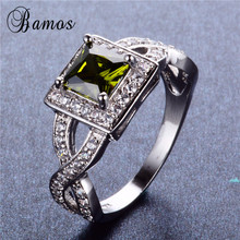 Bamos New Fashion Square AAA Zircon Multicolor Birthstone Ri