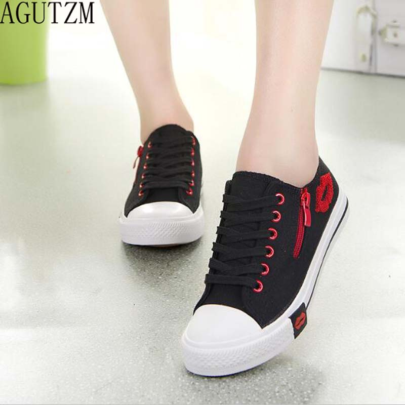 AGUTZM women Red lip Casual shoes 2018 hot fashion canvas shoes women spring autumn for woman sneaker V196