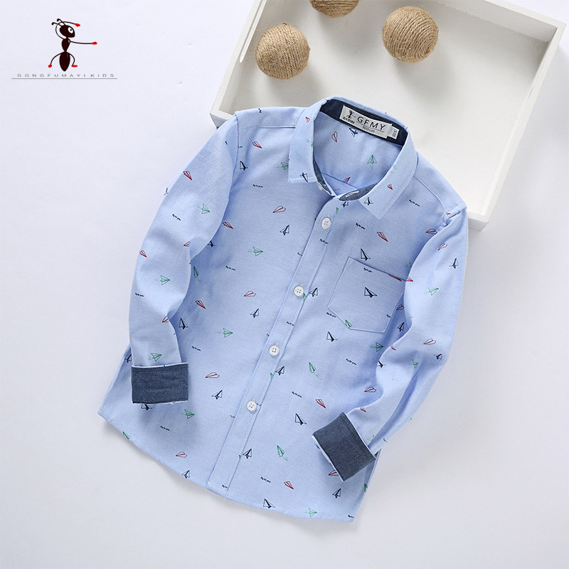 Kung Fu Ant 2017 New Arrival Autumn Turn-down Collar Blue Pink White Boy School Uniforms Students Shirts Blouses 178603