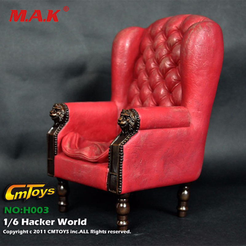 1/6 red single sofa settee PVC chair furniture fit 12\