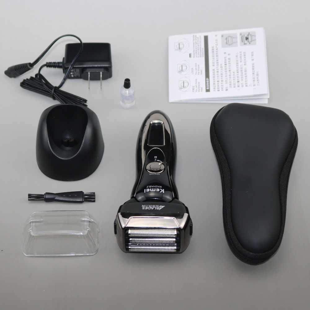 المهنية قابل للغسل تنظيف ماكينة حلاقة قابلة للشحن ماكينة حلاقة كهربائية للرجال 3D برو الكهربائية الحلاقة الذكور اللحية الوجه ماكينة حلاقة