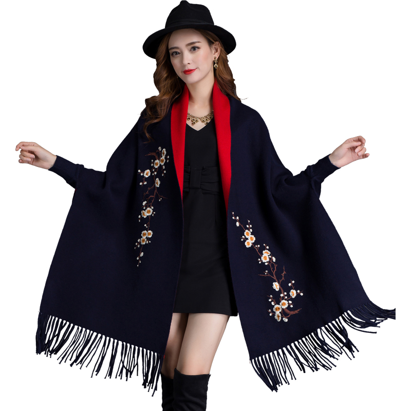 Brand New design with sleeve Poncho scarf winter warm cashmere Embroidery Cape tassel Blanket wrapped scarf