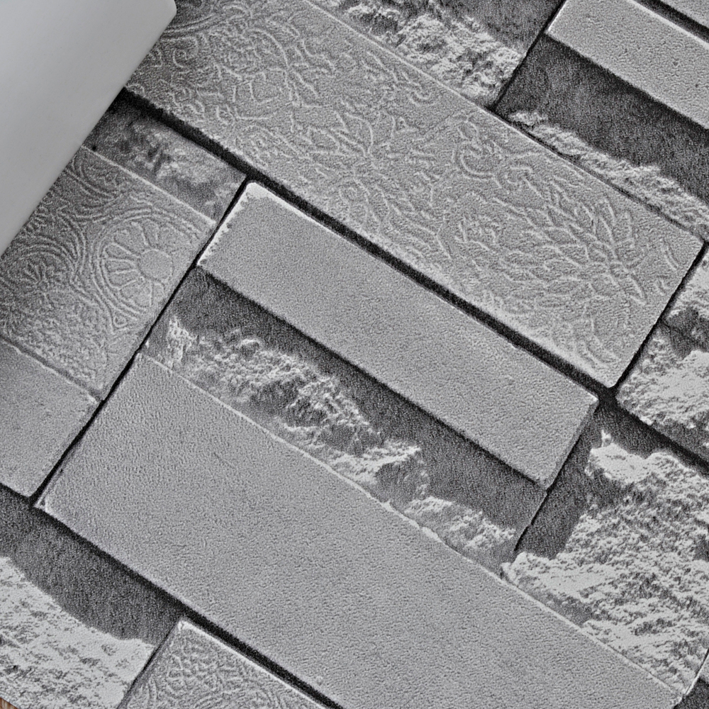 Stone wall paper 3d brick wall wallpaper vinyl for Vinyl wallpaper for walls