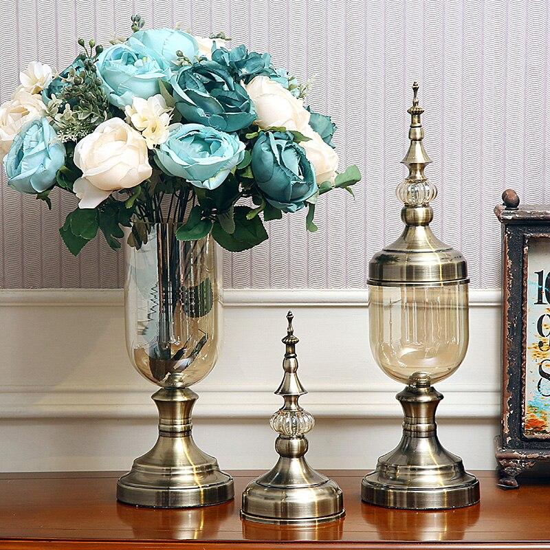 Ev ve Bahçe'ten Vazolar'de Avrupa cam vazo kristal süsler, modern minimalist Amerikan çiçek düzenleme süslemeleri yemek masası TV kabine oturma'da  Grup 3